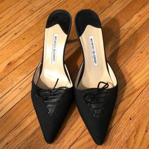 Manolo Blahnik black kitten mules